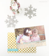 Love Peace Joy Holiday Photo Cards - Gold Foil