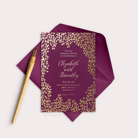 Marsala Wedding Invitations (printable template)