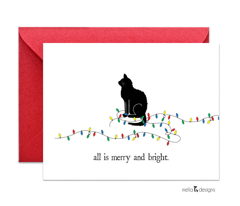 Cat Holiday Cards -  Merry and bright