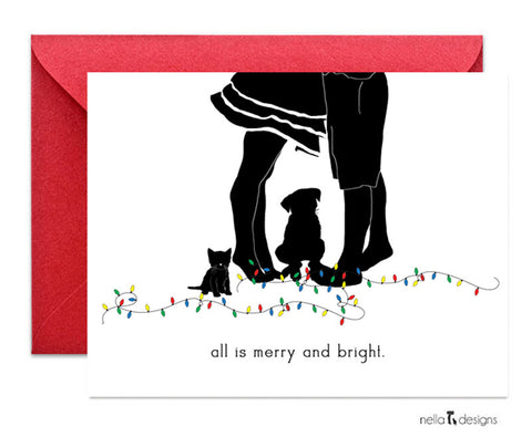 All is merry and bright Holiday Cards (dog and cat)