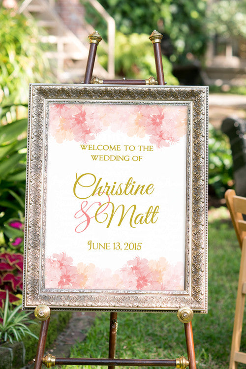 Printable Blush and Gold Wedding Sign