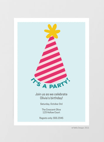 Party Hat Birthday Invitations