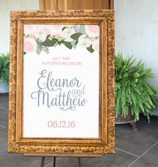 Blush Peonies Wedding Sign
