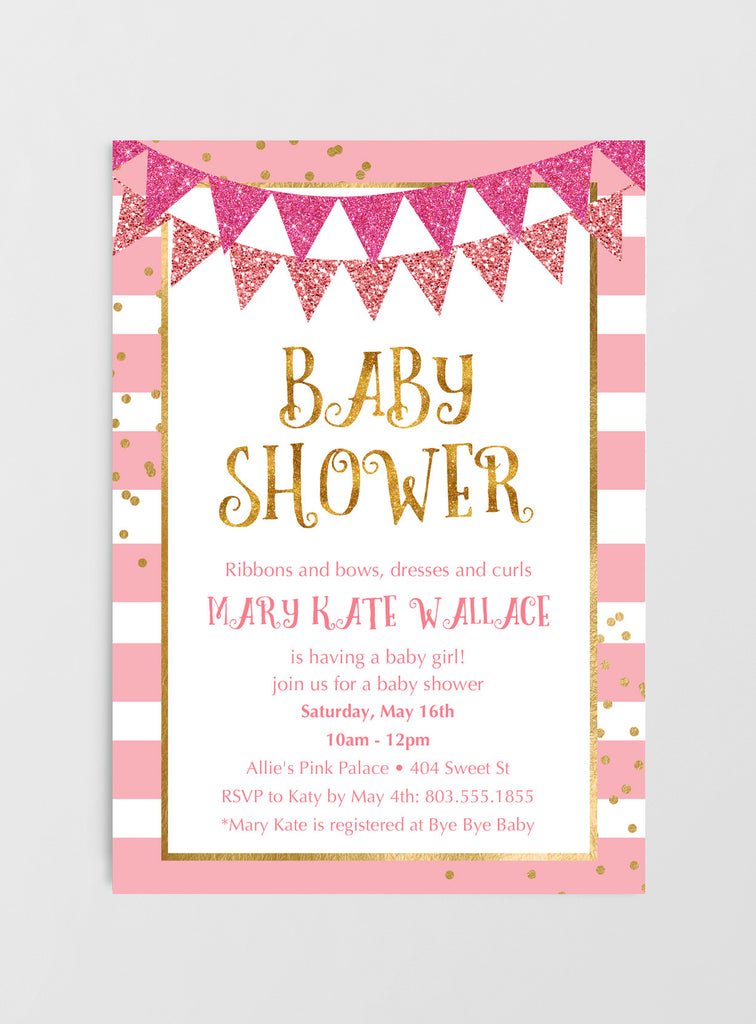 Baby Shower Invitations - Pink & Gold Banner