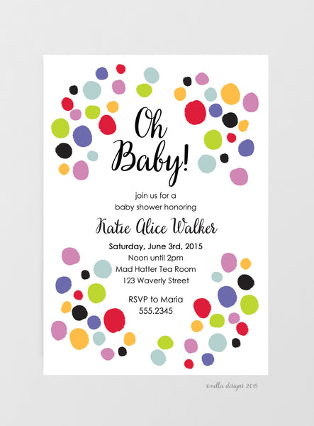 Baby Shower Invitations Polka Dots Nella Designs