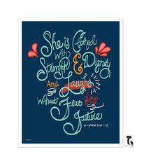She is clothed with Strength, Proverbs 31:25 Hand Lettered Print