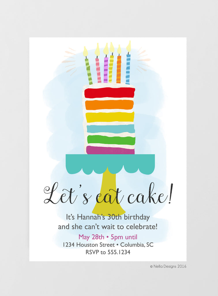 Rainbow Cake Birthday Invitations
