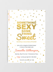Gold foil wedding/bridal shower invitation - Something sexy, Something sweet