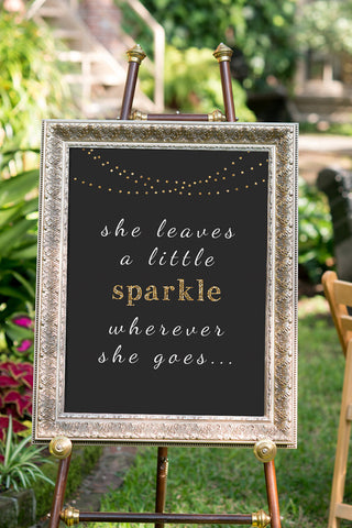 Printable Chalkboard Wedding Sign - She Sparkles