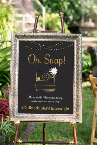 Printable Chalkboard Wedding Hashtag Sign - Oh Snap!