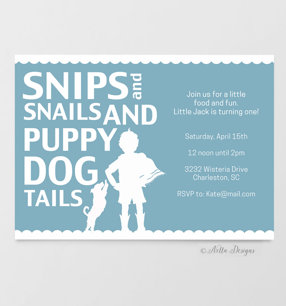 Snips and Snails Invitations