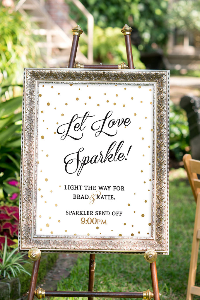 Printable Black and Gold Wedding Sparkler Signs - confetti