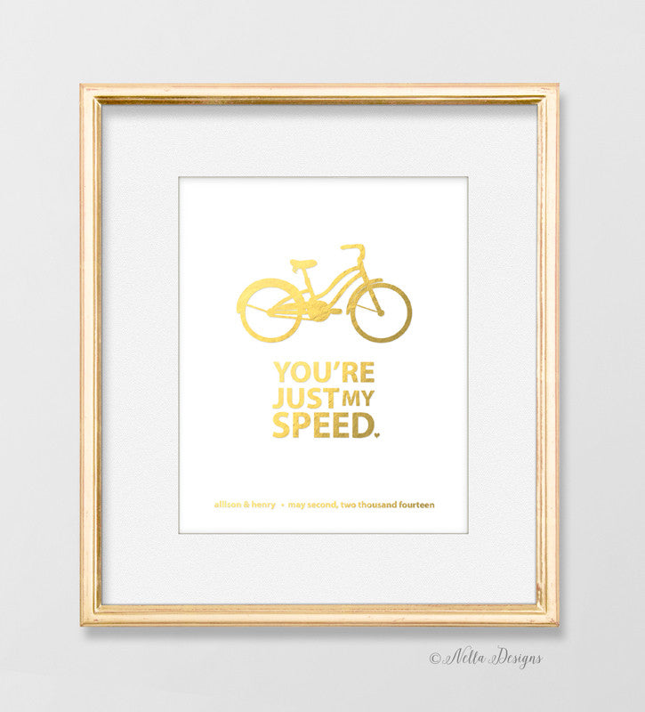 Just my speed - Personalized Bicycle Print (white)