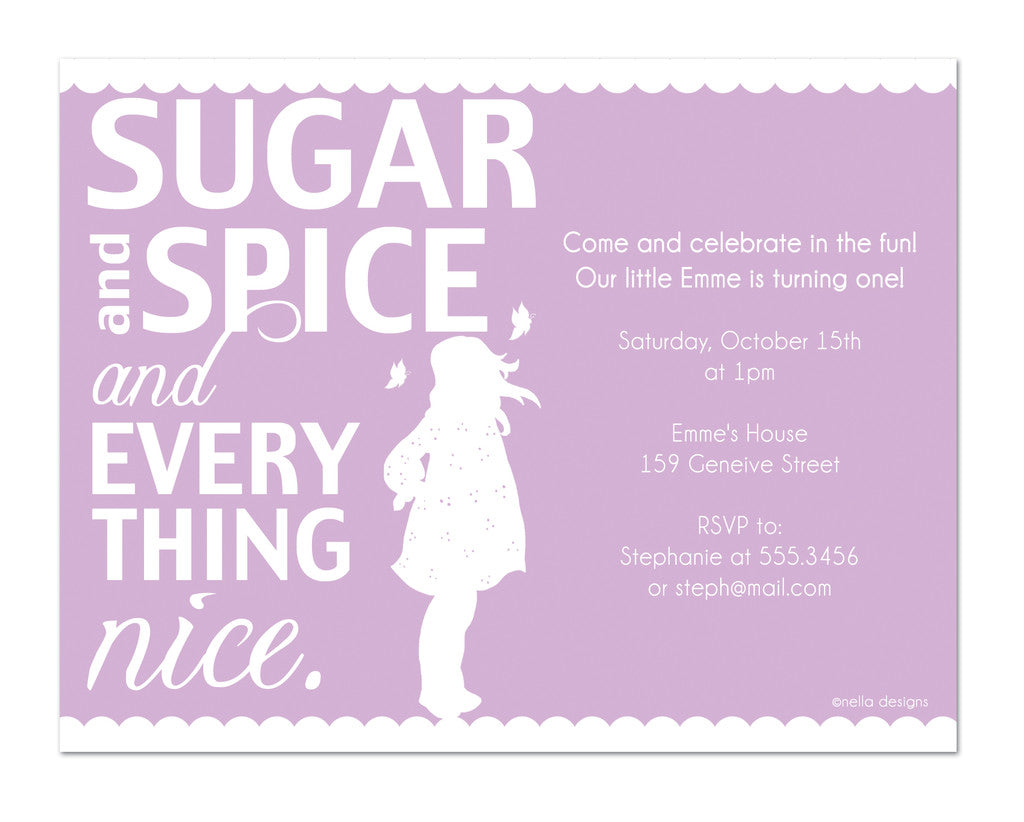 sugar and spice birthday invitations, baby shower invitations ...