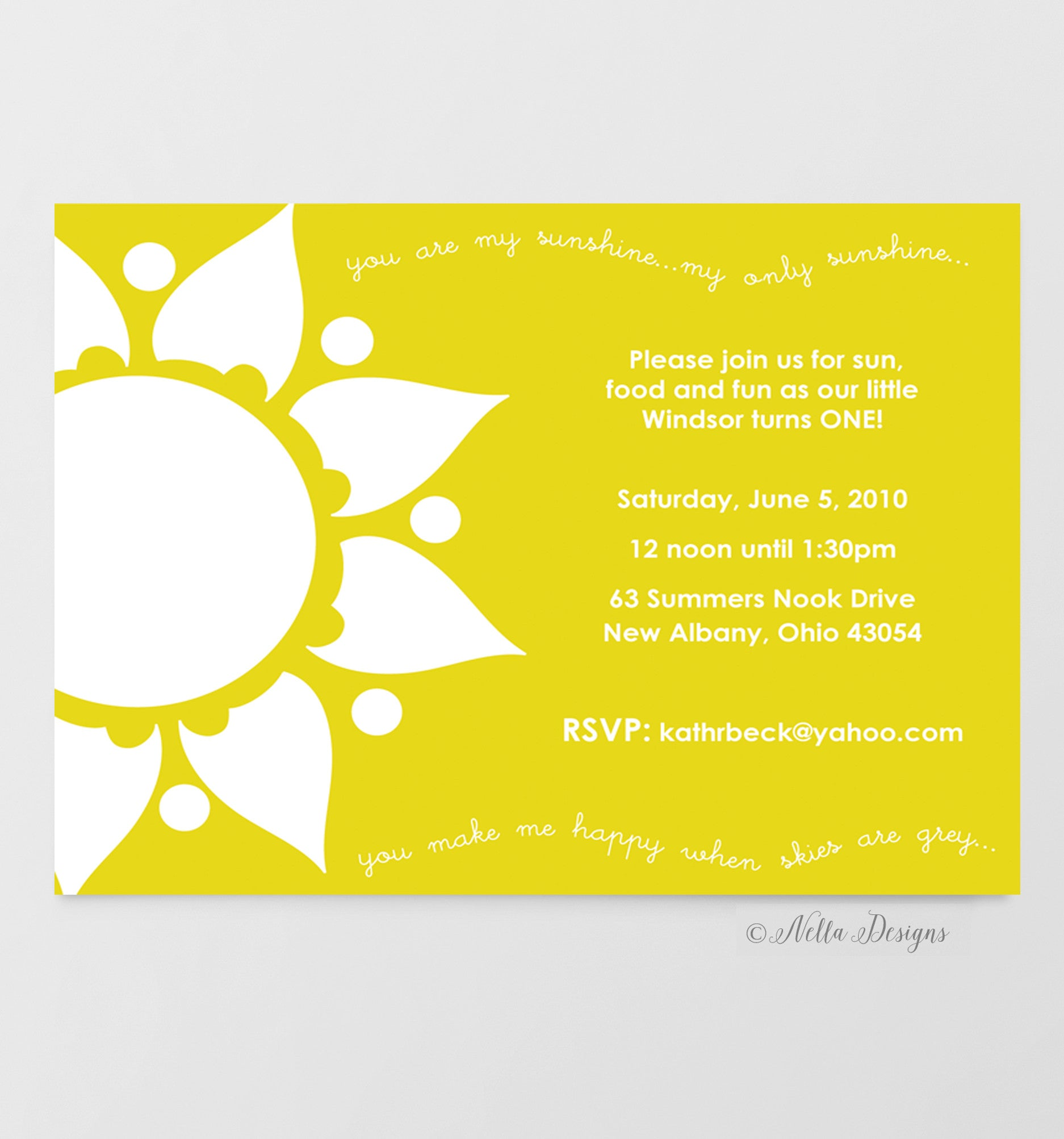 you are my sunshine invitations for baby showers or birthday parties