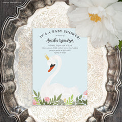 Swan Invitations - Printable Baby Shower or Birthday