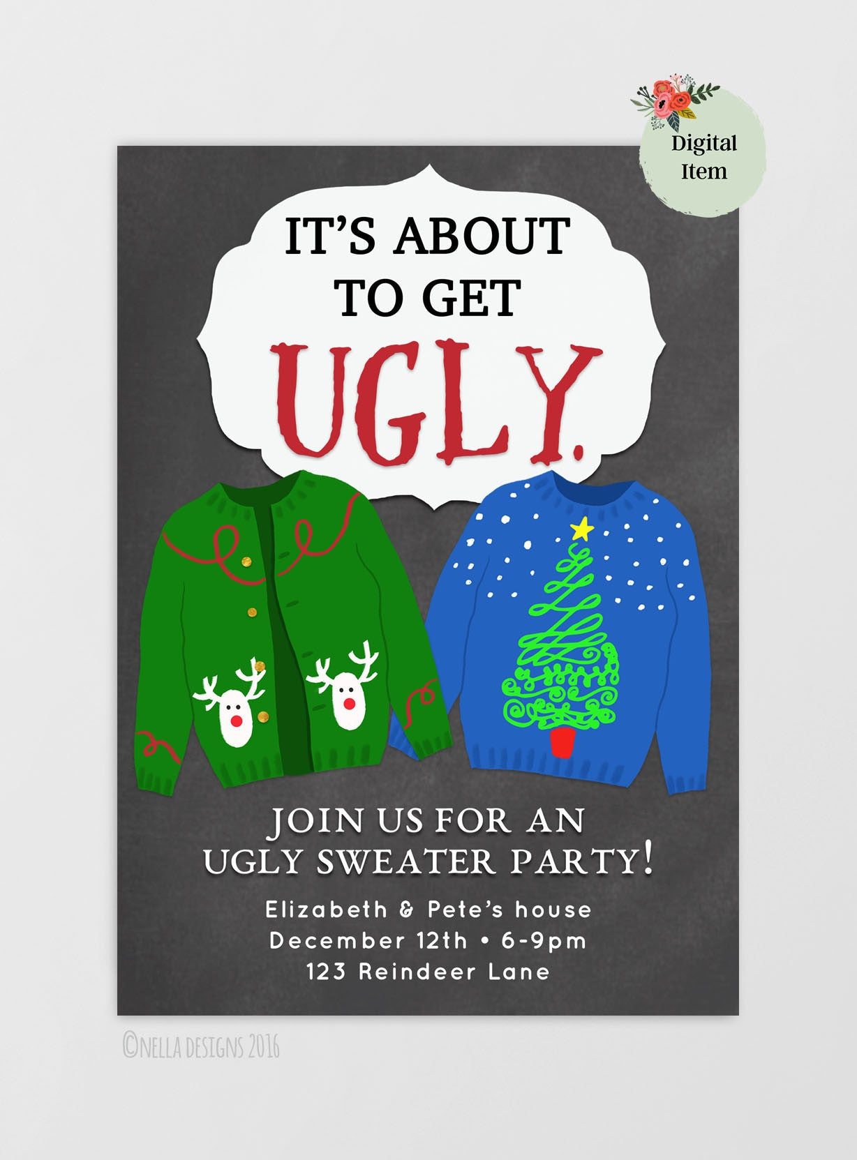Ugly sweater party ugly christmas sweater party printable ugly sweater party ugly christmas sweater party printable invitation stopboris Choice Image