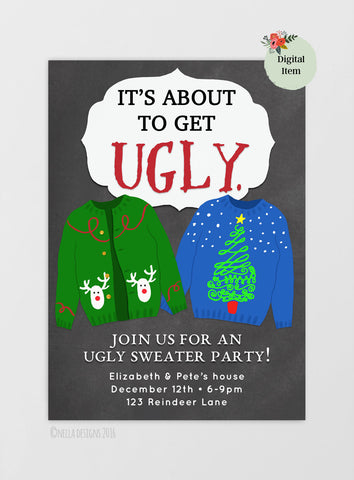 Ugly Sweater Party / Ugly Christmas Sweater Party Printable Invitation