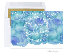 Watercolor Christmas Cards - Happy Holidays