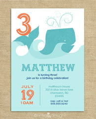 Whale Birthday Party Invitations, 1st Birthday, Girl or Boy