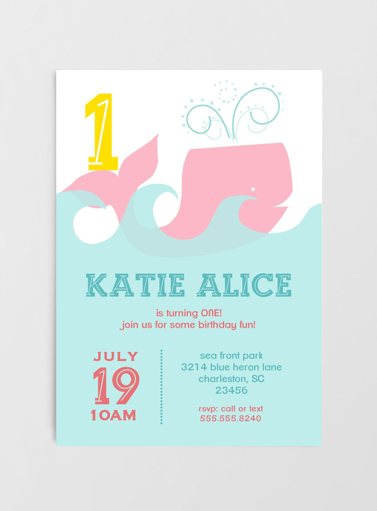 Whale Birthday Party Invitations 1st Birthday Girl or Boy Nella