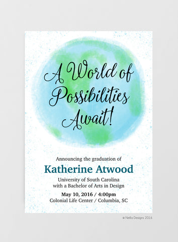 Watercolor Graduation Invitation