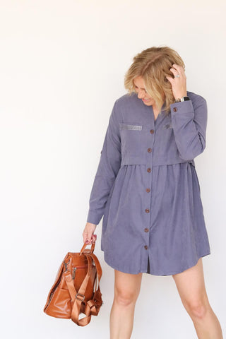 Periwinkle Suede Shoes Dress