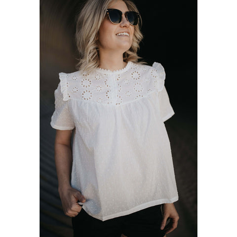 White Flowers Blouse