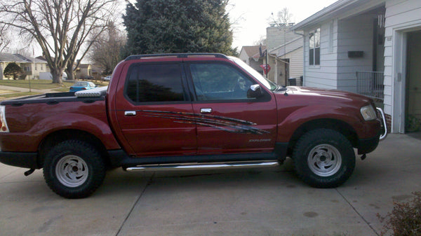 red ford explorer with decal kit