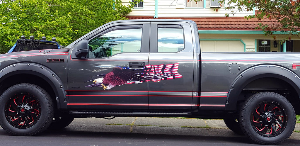 usa flag eagle vinyl graphics on ford truck