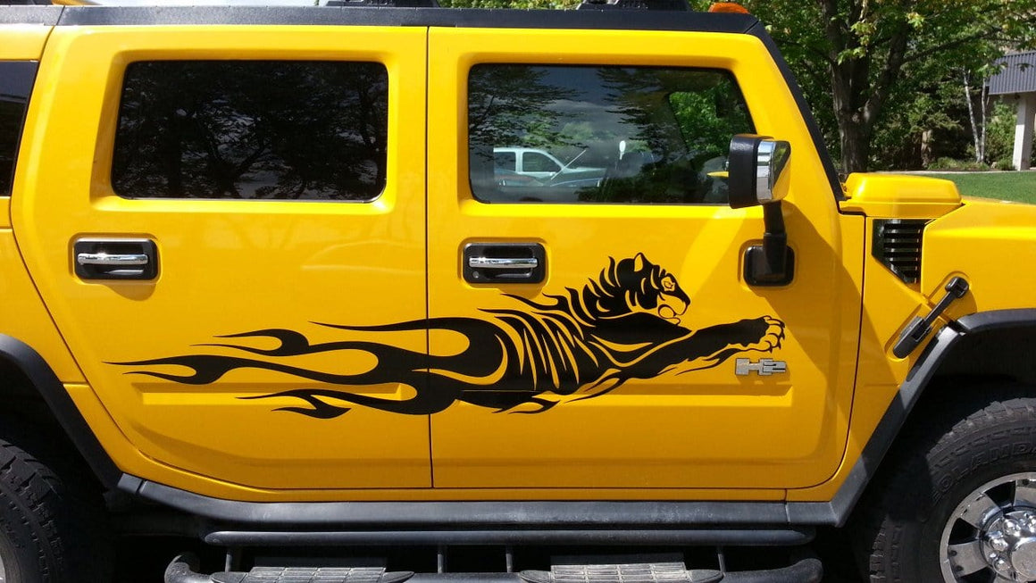 black tiger flames vinyl decal on yellow hummer h2