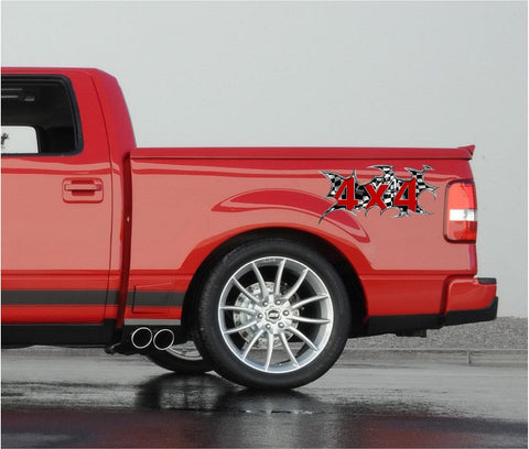 4x4 checkers decal sticker on red truck