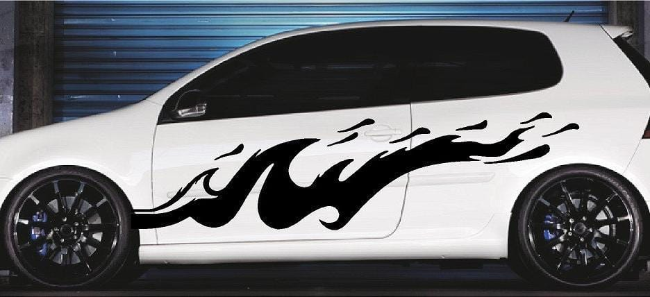 splash wave black vinyl decal on white car