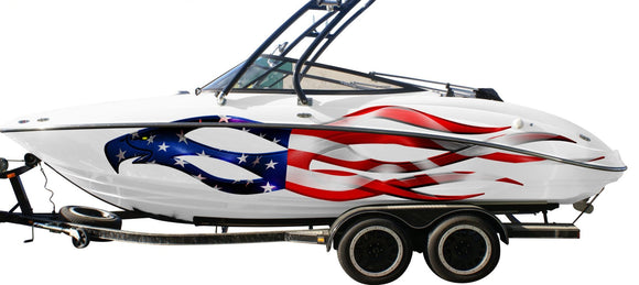American pride eagle decal on white gmc pickup