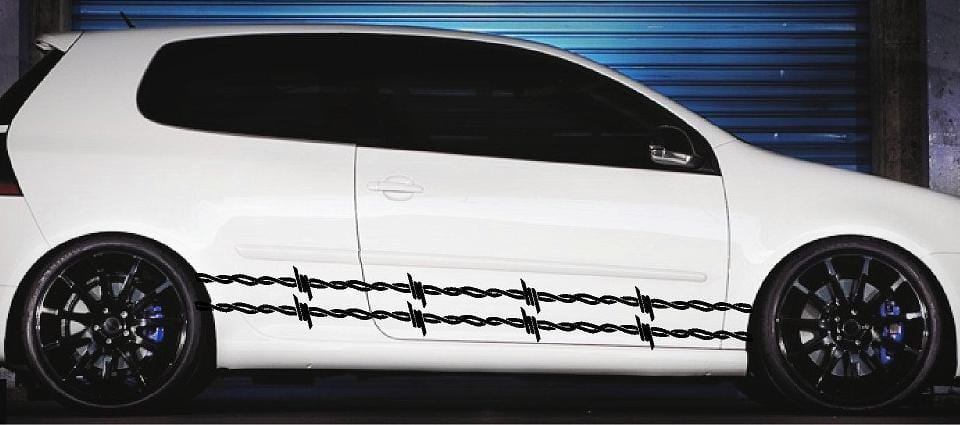 barbwire vinyl decals on white sports car