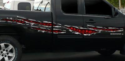 Skulls chrome tears vinyl decals on the side of black truck