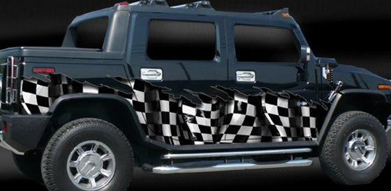 checker flag vinyl wrap on H2 hummer