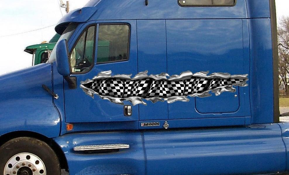 Checker flag tear vinyl graphics on semi truck