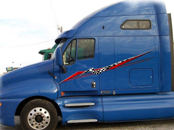 large vinyl checkered graphics on big white semi truck