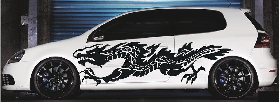 flaming dragon vinyl decal on white car