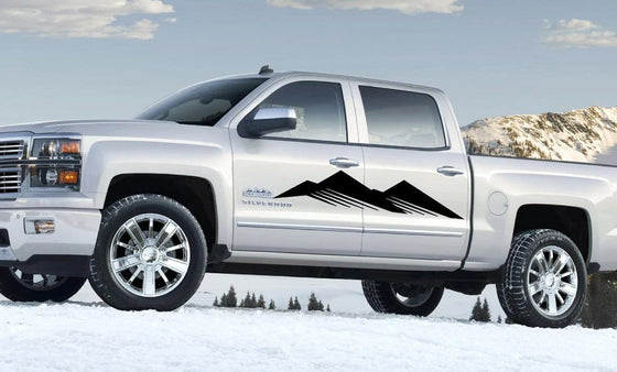 Mountain silhouette vinyl cut decal on Chevy pickup