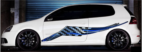 Checker flag racing decals on sports car
