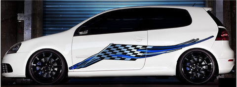 Racing checkers wing graphics on white hatchback car