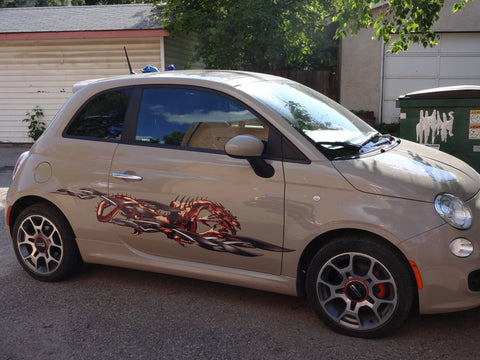 Tribal dragon decal on fiat