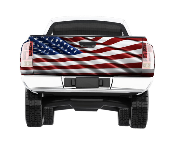american flag bald eagle wrap on pickup tailgate