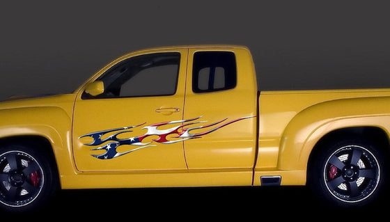 amerian flag flame truck graphics