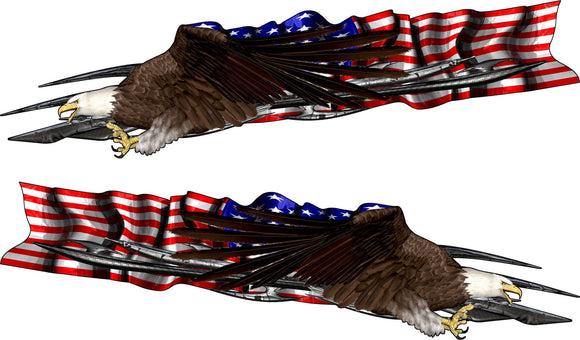 usa flag bald eagle decal on blue semi trailer