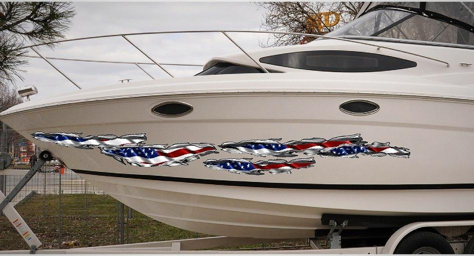 american flag Tears vinyl graphics on boat