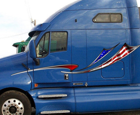 american flag decal stripes on blue semi truck