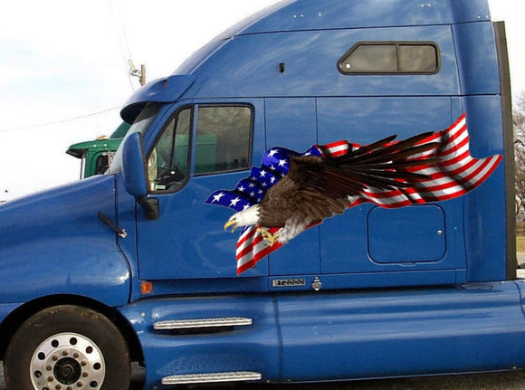 bald eagle american flag decal on red pickup truck